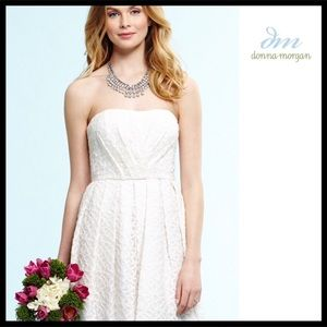 DONNA MORGAN WHITE STRAPLESS FORMAL DRESS A3C